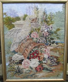 Antique Victorian 19th.Cent. Berlin-work Needlepoint Picture .