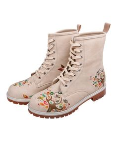Dogo  Beige Happy Tree Lace-Up Boots by Women s Winter Boots on  zulilyUK 786458a26a
