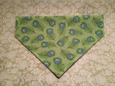 Peacock Feather Over-the-Collar Dog Bandana by HemptressDesigns