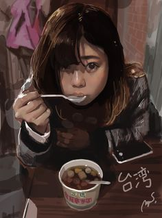 Kai Fine Art is an art website, shows painting and illustration works all over the world. Digital Art Girl, Digital Portrait, Portrait Art, Dibujos Cute, Anime Art Girl, Manga Girl, Pretty Art, Howls Moving Castle, Art Tutorials