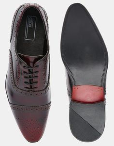 €58.82 - UK9.5, 9 - Image 3 of ASOS Brogue Shoes in Burgundy Hi-Shine Leather
