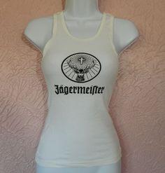 Womens Jagermeister Tank Top Size M White Buck Cross  #Jagermeister