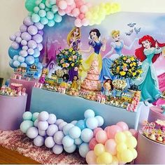 Big poster and flower bouquets Princess Birthday Party Decorations, Disney Princess Birthday Party, 1st Birthday Party For Girls, Princess Theme Party, Girl Birthday Themes, Balloon Decorations Party, 3rd Birthday, Disney Princess Decorations, Princess Cakes