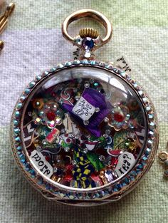 Mad Hatter micro-mosaic inside antique ladies pocket watch by artist Tracey Davis