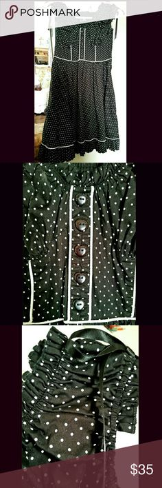 Hell Bunny Rockabilly dress Hell Bunny Annabella dress, black & white polka dotted rockabilly ruffle w/pockets. Worn once, like new. Hot Topic Dresses Mini