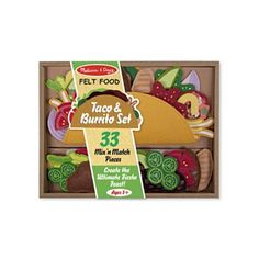 Melissa and Doug Taco and Burrito Felt Play Food Set