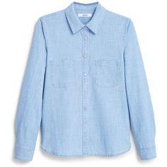 Mango Denim shirt ($53) ❤ liked on Polyvore featuring tops, blue, women, long sleeve button shirt, shirts & tops, blue shirt, blue long sleeve top and button shirts