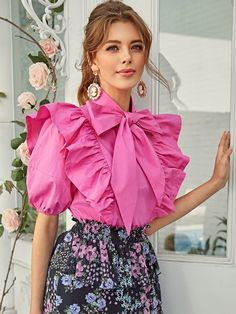 To find out about the Neon Pink Tie Neck Exaggerate Ruffle Trim Top at SHEIN, part of our latest Blouses ready to shop online today! Sexy Blouse, Bow Blouse, Dip Dye Hair, Satin Bluse, Cute Blouses, Pink Blouses, Women's Blouses, Chiffon, Pink Ties