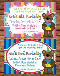 What to expect during a build a bear birthday party coupon code boy or girl invitation bear teddy birthday party can personalize colors wording printable file or printed cards filmwisefo