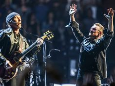 Star Tracks: Wednesday, May 27, 2015 | MUSIC MEN | U2's The Edge and Bono feel the fan love Tuesday during a performance in Inglewood, California, on their Innocence + Experience tour.