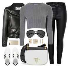 """Look 1"" by monmondefou ❤ liked on Polyvore featuring Acne Studios, Prada, Glamorous, Yves Saint Laurent, Forever 21, Speck, white, black and gray"