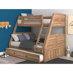 Buy Cornelia Solid Pine Triple Bunk Bed with Storage - Natural Online Australia Full Bed With Trundle, Trundle Bed Frame, Loft Bed Frame, Full Bunk Beds, Kid Beds, Bunk Beds With Drawers, Bunk Beds With Storage, Bed Storage, Storage Drawers