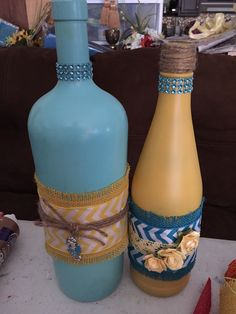 tiki torches from recycled wine bottles
