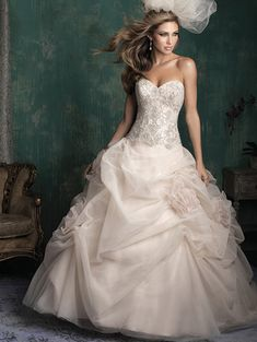 @Bellethemagazine wedding dresses | Allure Couture 2015 Collection | Floor Ivory Ball Gown Sweetheart