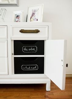 New but rustic hardware and organizers with chalk paint! OH it's almost too good!