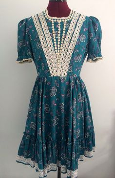 1970's Handmade Teal, Purple and Lace Floral Square, Swing, Country, Line Dancing, Lolita Dress on Etsy, $34.00