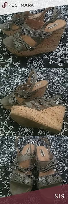 """Not Rated Wedges 5"""" Blingy , springy, glam girl wedges, gently used great condition Not Rated Shoes Wedges"""