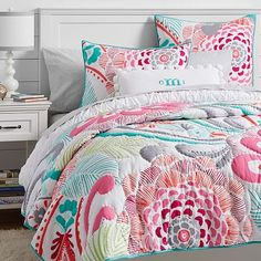 Fun colors for a card  Ocean Bloom Wholecloth Quilt + Sham #pbteen
