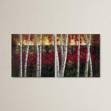 Autumn Aspens Painting Print Wrapped Canvas Set