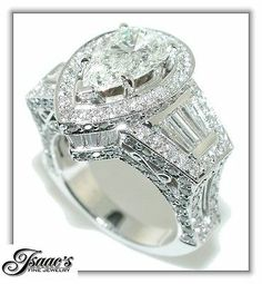 6 50 Ct Crown Pear Shape Diamond Engagement Ring 18KW | eBay