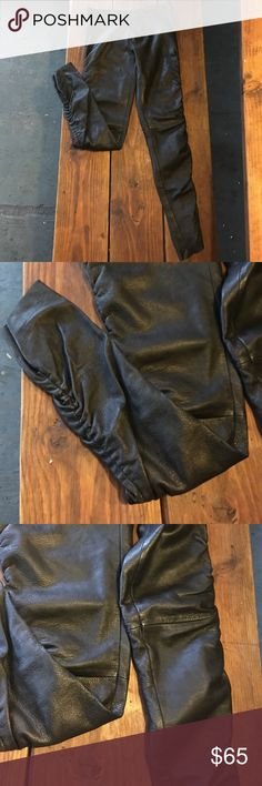 Vintage Skinny 100% Black Leather Pants Perfect condition- no visible flaws- vintage black leather pants - gathered stitching down outer leg seam and seam at knee as pictured - zip and button fly / no pockets Vintage Pants Skinny