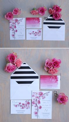 Cherry Blossom Wedding Invitations | Handpainted watercolor wedding invitations with a white envelope and a striped liner | Designed by Bohemian Mint (www.bohemianmint.com)