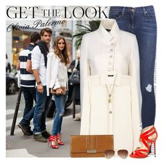 """""""Get the Look: Olivia Palermo"""" by hatsgaloore ❤ liked on Polyvore featuring Victoria Beckham, J Brand, Ann Demeulemeester, By Malene Birger, Jimmy Choo, Gherardini, Rayban, Feather & Stone and Kenneth Cole"""