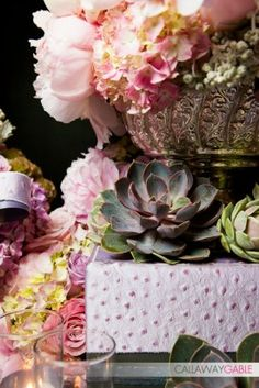 Beautiful pink florals & succulents - The Hidden Garden Floral Design