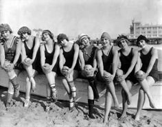 'In 1915, Mack Sennett assembled a bevy of girls known as the Sennett Bathing Beauties to appear in provocative bathing costumes in comedy short subjects, in promotional material, and in promotional events like Venice Beach beauty contests.'  Apparently socks were then considered normal beach attire. I love me some socks, but not where sand is involved.