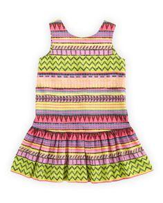 Raffia-Print Drop-Waist Dress, Multi, Sizes 8-10 by Milly Minis at Neiman Marcus.