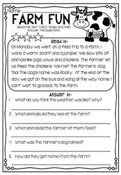Reading Comprehension Passages - First Second Grade by My Teaching Pal 1st Grade Reading Worksheets, First Grade Reading Comprehension, Grade 1 Reading, First Grade Writing, Reading Comprehension Worksheets, Reading Fluency, Reading Passages, Kindergarten Reading, Preschool Kindergarten
