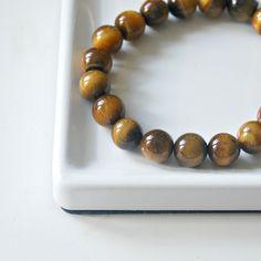 Brown tiger eye bracelet - 10mm gemstones Bracelets For Men, Beaded Bracelets, Tiger Eye Bracelet, Tigers Eye Gemstone, Bead Shop, Minimalist Jewelry, Jewelry Shop, Fathers Day Gifts, Swarovski Crystals