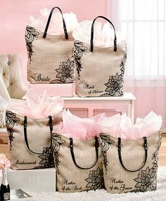 """Give the special women in your life a Black Lace Burlap Wedding Tote. Use it to pop the second big question--""""Will you be my bridesmaid?"""" Just place your note i"""