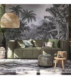 HK-living Bank leger groen canvas 250x103x73cm - wonenmetlef.nl