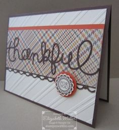 Stampin Up A Round Array stamp set Thankful card.