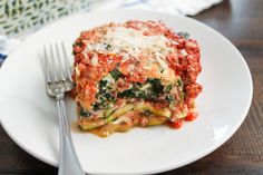 A recipe for Zucchini Lasagna with a beefy bolognese sauce. This hearty but healthy recipe can be prepared in under an hour!