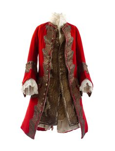 Man's Coat and Waistcoat, ca. 1730. Probably French. The Metropolitan Museum of Art, New York. Isabel Shults Fund, 2004 (2004.411a, b)   This elaborate coat is an elegant example of the luxury and craftsmanship of menswear in the first half of the eighteenth century. The full cut of the horsehair-stiffened coat skirt and the large cuff details are representative of the exaggerated proportions of the period. #OneMetManyWorlds