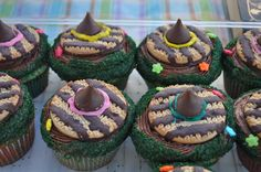 """Fairy Tale Theme: """"Hansel and Gretel's Revenge Cupcake"""" is our """"Candy Funfetti Cupcake with Chocolate Frosting with a witch hat cookie"""""""
