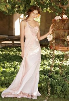 Beaded Chiffon One Shoulder Dress from Camille La Vie and Group USA #bridesmaid #bridesmaiddresses
