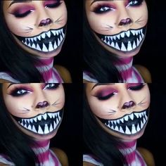 Cheshire Cat Makeup (like the nose and eye makeup) Cheshire Cat Makeup, Cheshire Cat Halloween, Cat Halloween Makeup, Cheshire Cat Costume, Chesire Cat, Halloween Inspo, Halloween Looks, Halloween Cosplay, Halloween Make Up Cat