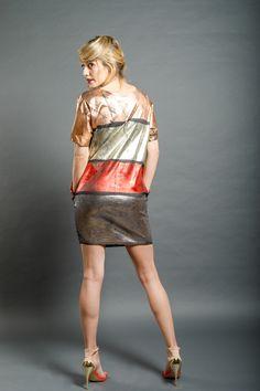 Dip Dye, Red Gold, Romania, Leather Skirt, Winter Fashion, Fall Winter, Metallic, Copper, Spring