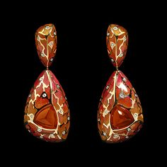 Mousson Atelier earrings Four Seasons Yellow gold 750, Citrine 3.15 ct., Diamonds, Enamel