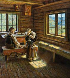 Asor Hansen (1862-1929): Interior Setesdal (1909)