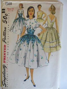 SIMPLICITY  Printed Pattern with Instructions  No. 1568    **Uncut, unused and factory folded**  One Piece Dress and Jacket  Size 14, Misses  Date:
