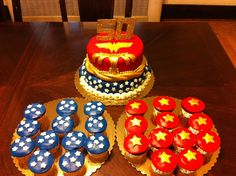 Wonder Woman Cake Cupcakes Wonder Woman Party Ideas Pinterest