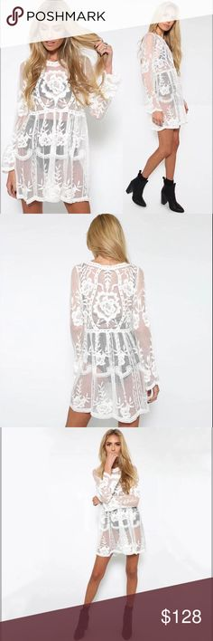 PREVIEW 2018 + HOLLOW OUT EMBROIDERED MESH DRESS This floral mesh is just out of this earth and you will not only make everyone look at you! Combine it with your favorite skinny jeans and go clubbing. If you're not as brave as to wear it with a simple bra underneath then you might as well amaze everyone at the beach and use this tunic dress as a cover-up.  Bundle Discount ^ No Trades ^ Offers Considered ^ Have a question? Please Ask! COMING SOON Dresses Mini