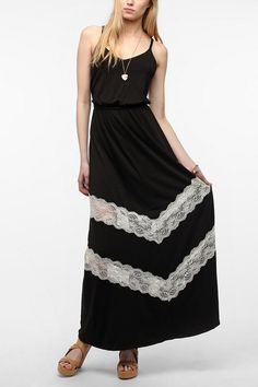 Pins And Needles Paneled Lace Maxi Slip #urbanoutfitters