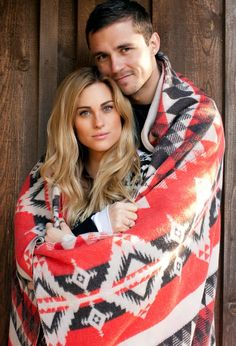 Couple with a very colorful blanket!  photo by Matt Clayton Photography: Blake & Jen