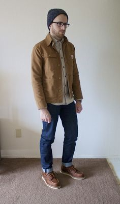 dynamite is wearing: Howlin' Beanie, J.Crew Chamois Shirt, Pointer Chore Coat, N&F Weird Guy, Red Wing 1907.