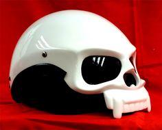 Masei 419 Gloss White Skull Face  Motorcycle Chopper Helmet FREE Shipping Worldwide [419] - USD 79.00 : MASEI Helmets